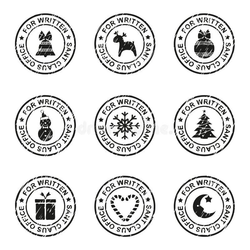 Insieme dei bolli e delle guarnizioni di natale su una busta postale, illustrazione di vettore illustrazione di stock