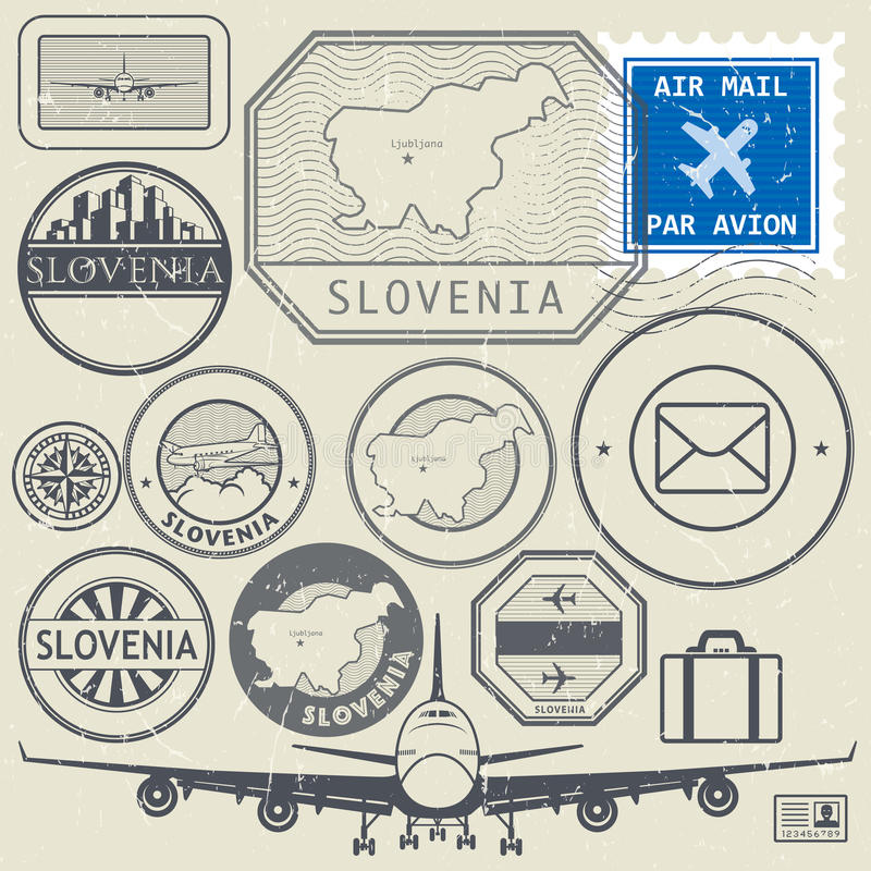 Insieme dei bolli o di etichette di tema di viaggio o di avventura della Slovenia illustrazione di stock
