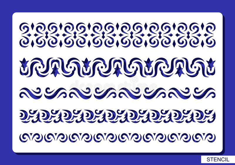 Insieme dei bordi decorativi illustrazione vettoriale
