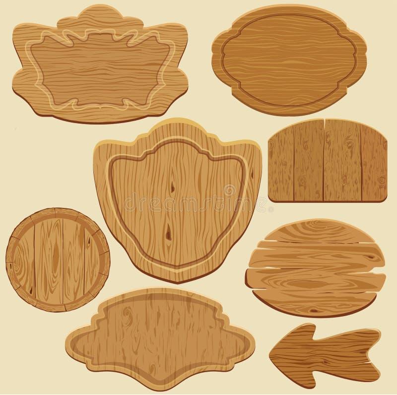 Insieme dei bordi di legno del segno di forme differenti royalty illustrazione gratis