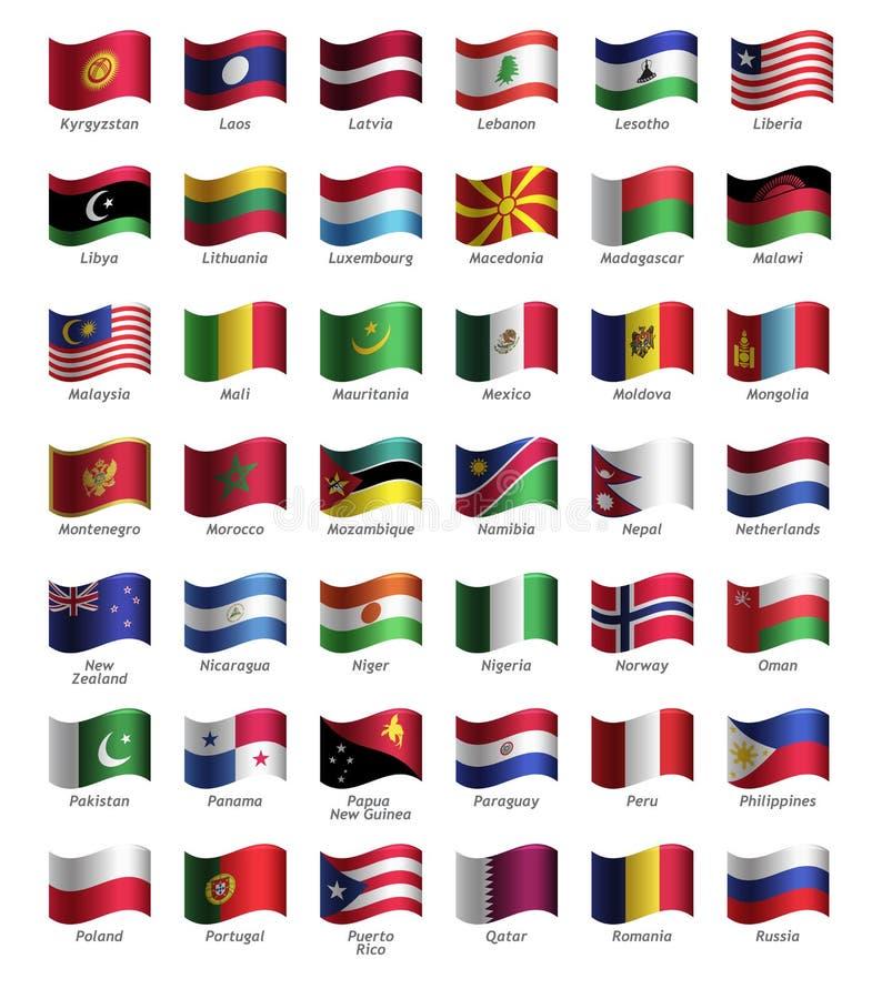 Insieme dei bottoni con le bandiere illustrazione vettoriale