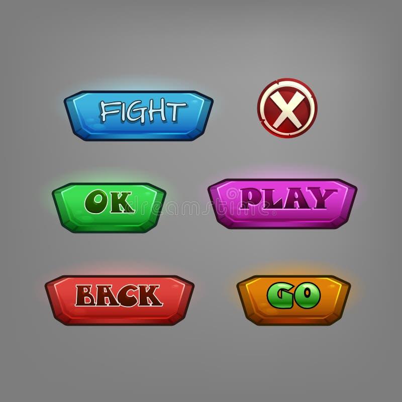 Insieme dei bottoni del fumetto per il gioco Elementi dell'interfaccia illustrazione di stock