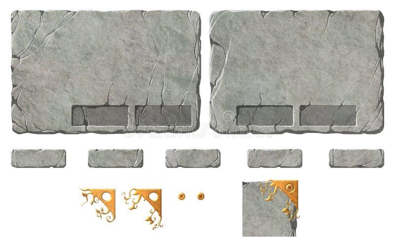 Insieme dei bottoni e degli elementi di pietra realistici dell'interfaccia royalty illustrazione gratis