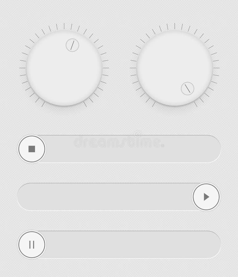 Insieme dei bottoni e dei cursori Controllo leggero dall'interfaccia utente Gestione sana Icone di Web Cursori bianchi in funzion illustrazione di stock