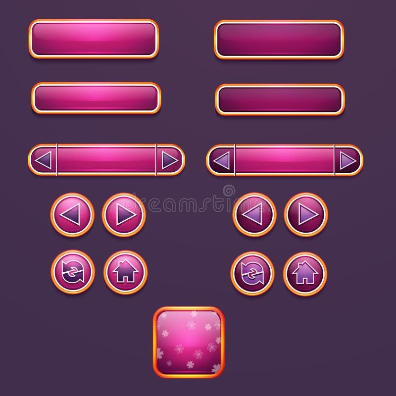Insieme dei bottoni e delle icone per progettazione illustrazione vettoriale
