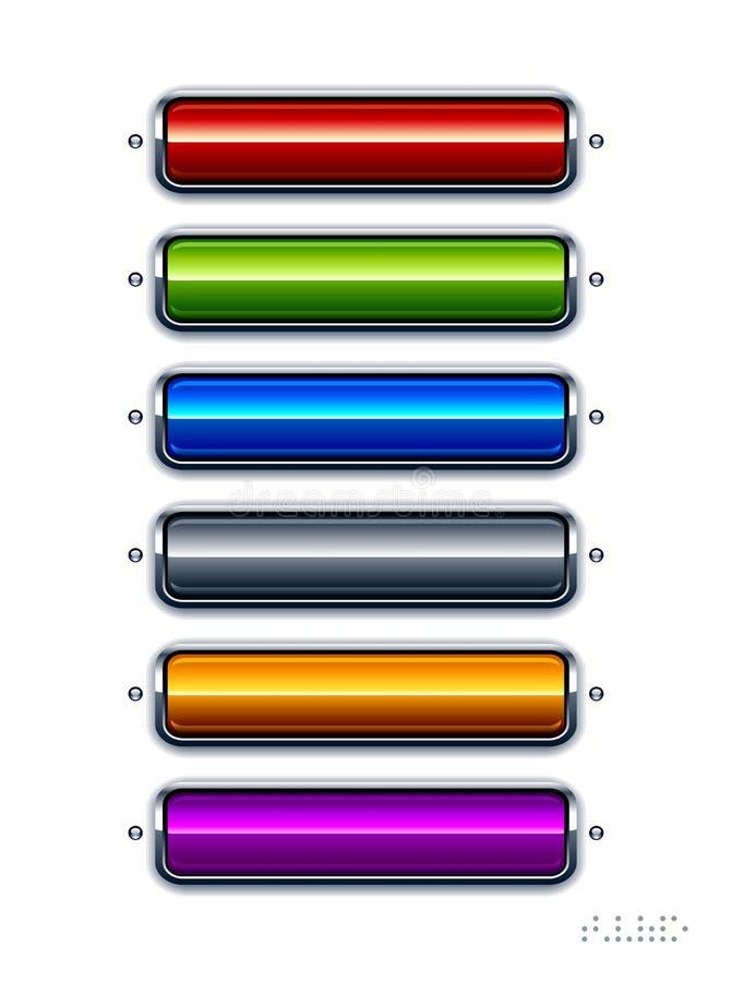 Insieme dei bottoni lucidi illustrazione vettoriale