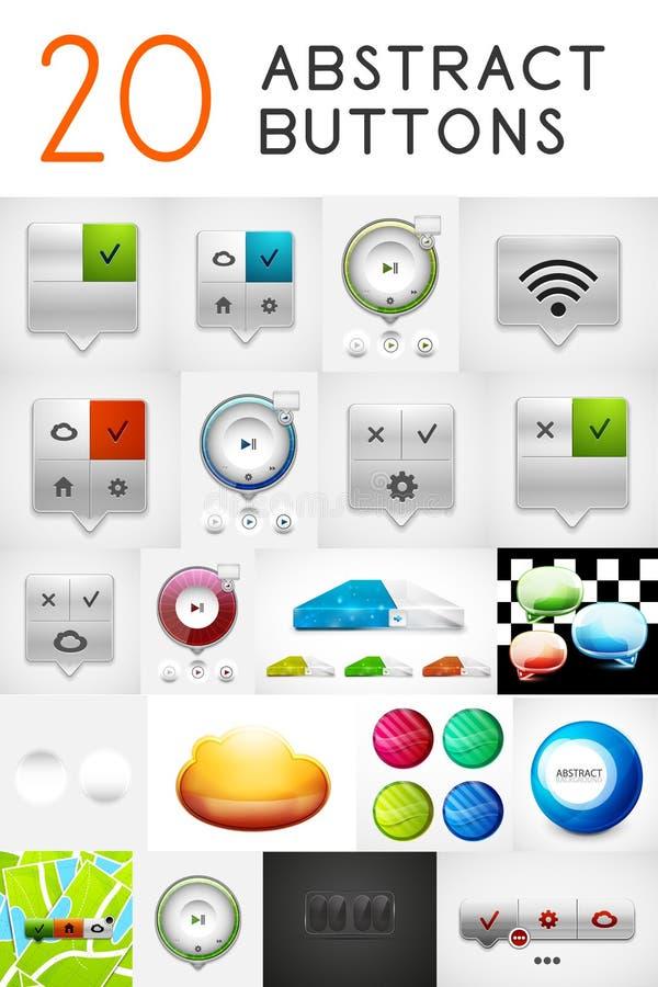 Insieme dei bottoni metallici astratti illustrazione di stock