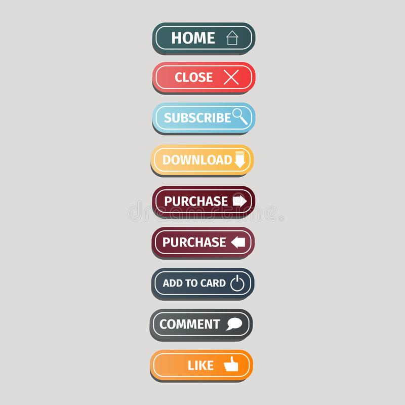Insieme dei bottoni multicolori per i siti Web con le icone su un fondo grigio Illustrazione di vettore di progettazione dei bott illustrazione vettoriale