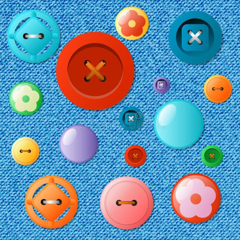 Insieme dei bottoni multicolori su un fondo dei jeans royalty illustrazione gratis