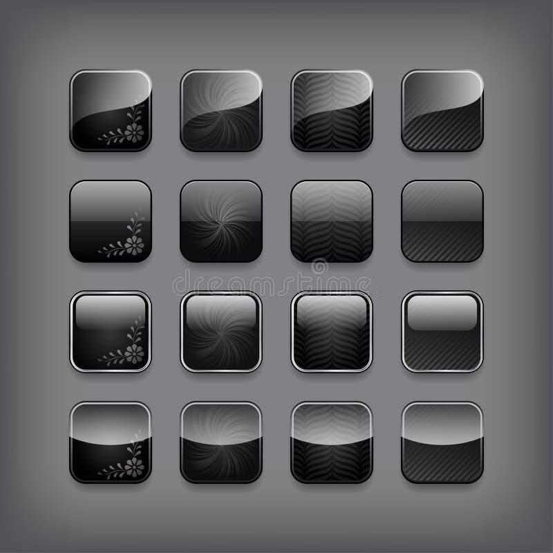 Insieme dei bottoni neri in bianco royalty illustrazione gratis