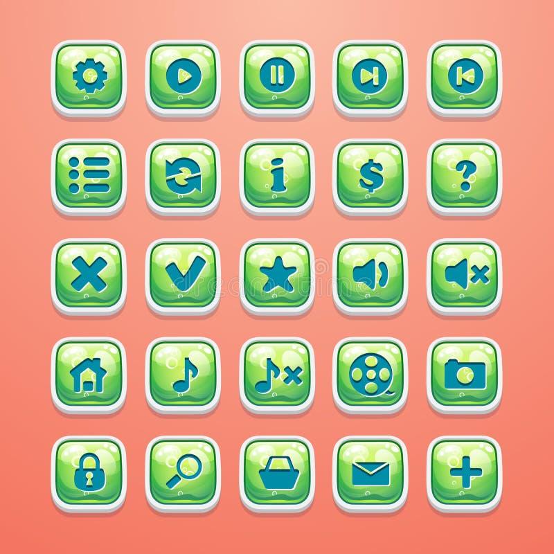 Insieme dei bottoni per l'interfaccia ed il web design affascinanti del gioco illustrazione di stock