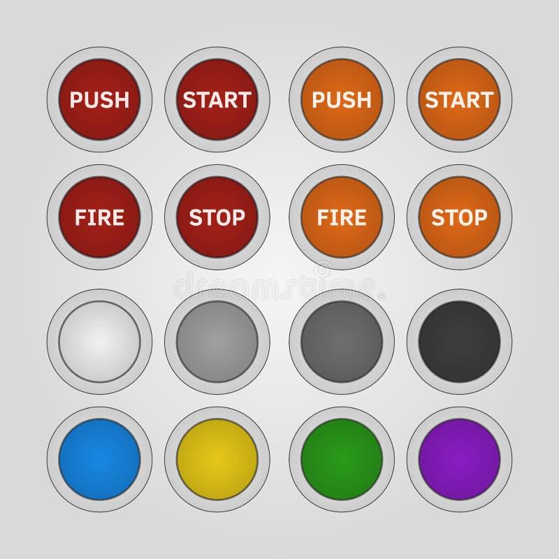 Insieme dei bottoni rotondi variopinti ed in bianco immagine stock libera da diritti