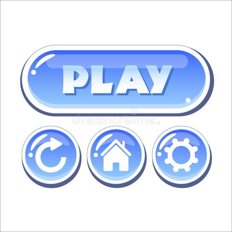 Insieme dei bottoni vetrosi blu di vettore royalty illustrazione gratis