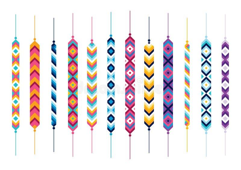 Insieme dei braccialetti del hippy di amicizia illustrazione vettoriale