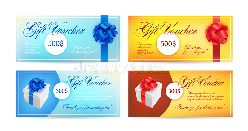 Insieme dei buoni di regalo con i nastri, un arco e contenitori di regalo Vector il modello elegante per la carta di regalo, il b royalty illustrazione gratis