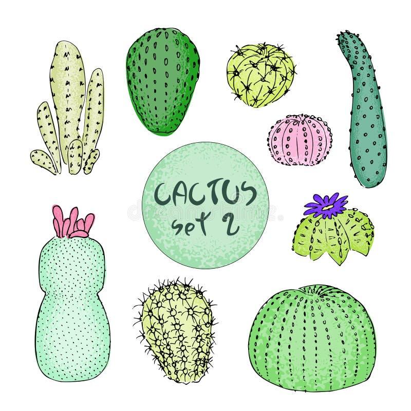 Insieme dei cactus colorati, illustrazione disegnata a mano di vettore Schizzo del profilo Raccolta succulente illustrazione di stock