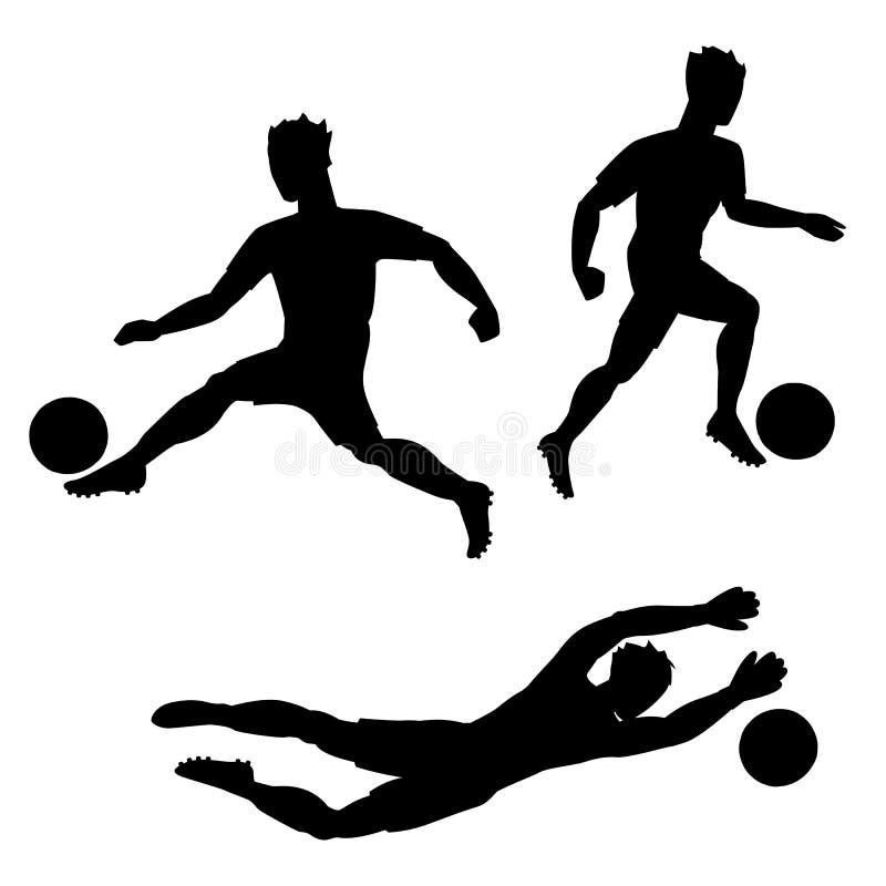Insieme dei calciatori con le palle Siluette degli uomini su fondo bianco royalty illustrazione gratis