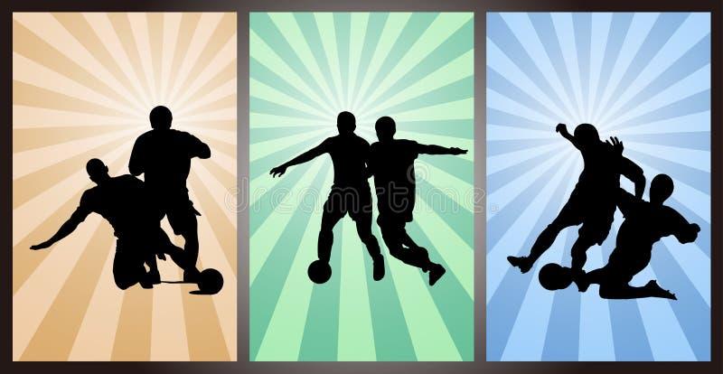Insieme dei calciatori, siluetta illustrazione vettoriale