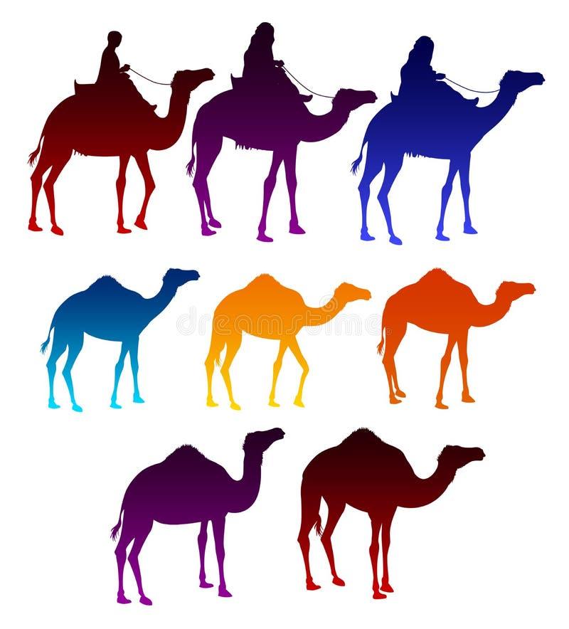 Insieme dei cammelli variopinti e degli uomini arabi che guidano nei cammelli royalty illustrazione gratis