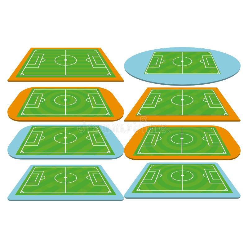 Insieme dei campi di calcio di calcio isolati illustrazione vettoriale