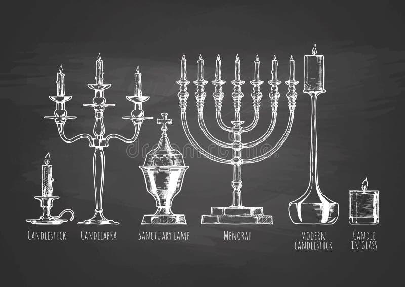 Insieme dei candelieri illustrazione vettoriale