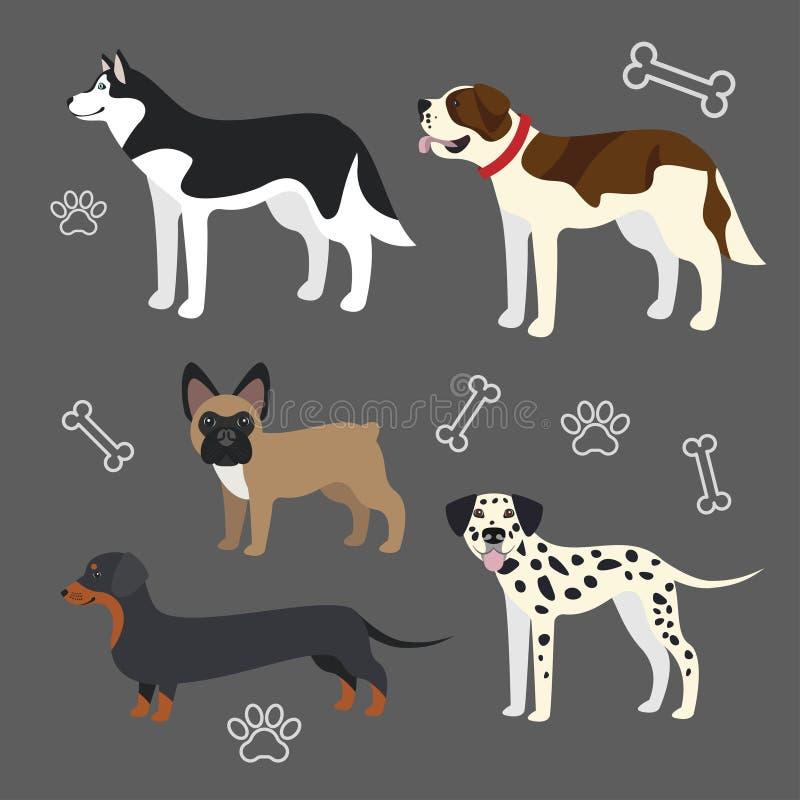 Insieme dei cani divertenti illustrazione di stock