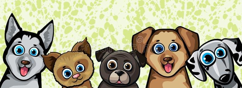 Insieme dei cani divertenti del fumetto illustrazione di stock