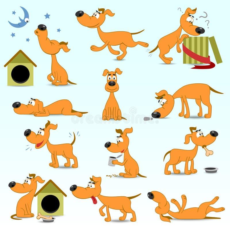 Insieme dei cani divertenti del fumetto royalty illustrazione gratis
