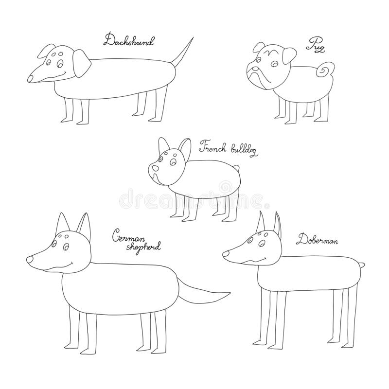Insieme dei cani divertenti del fumetto Oggetti isolati disegno della mano su fondo bianco Illustrazione di vettore schizzo rapid royalty illustrazione gratis