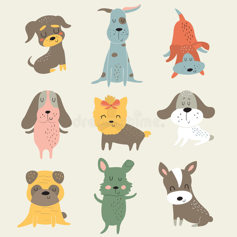 Insieme dei cani svegli immagini stock