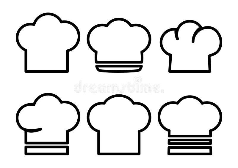 Insieme dei cappelli del cuoco unico Illustrazione di vettore illustrazione di stock