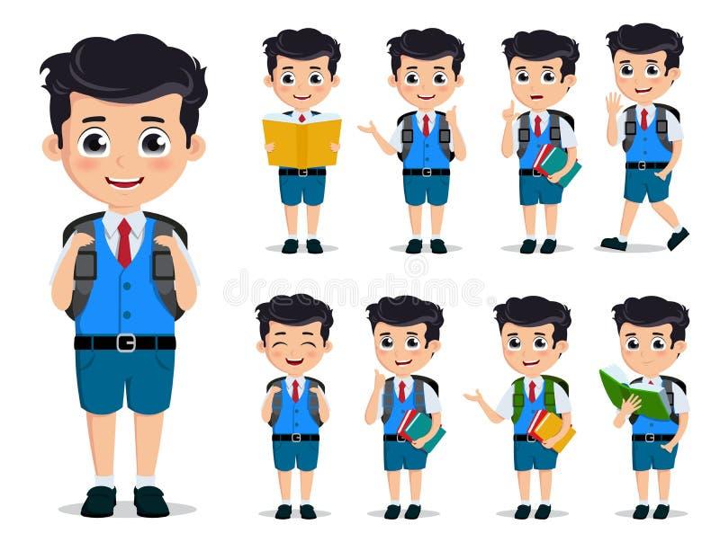 Insieme dei caratteri di vettore dei bambini della scuola Uniforme scolastico d'uso e zaino del giovane ragazzo dello studente in illustrazione vettoriale