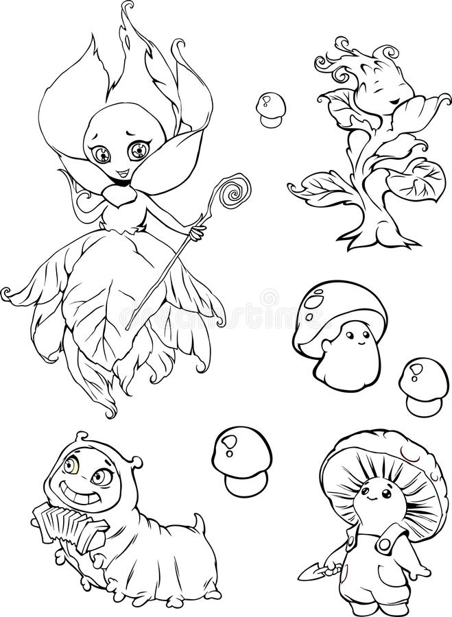 Insieme dei caratteri divertenti di fantasia del giardino del fumetto illustrazione di stock