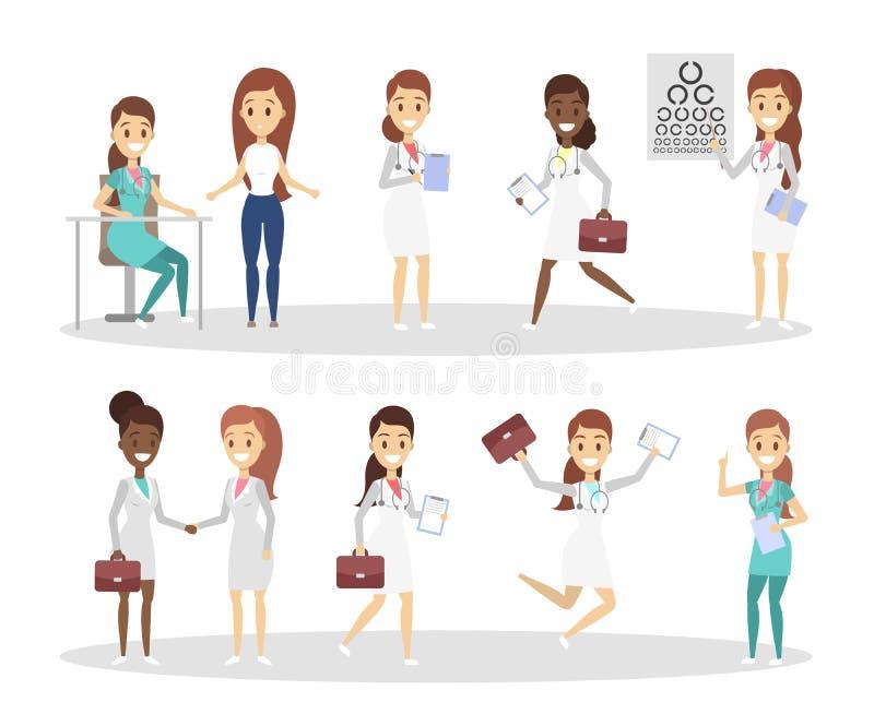 Insieme dei caratteri divertenti di medico illustrazione di stock