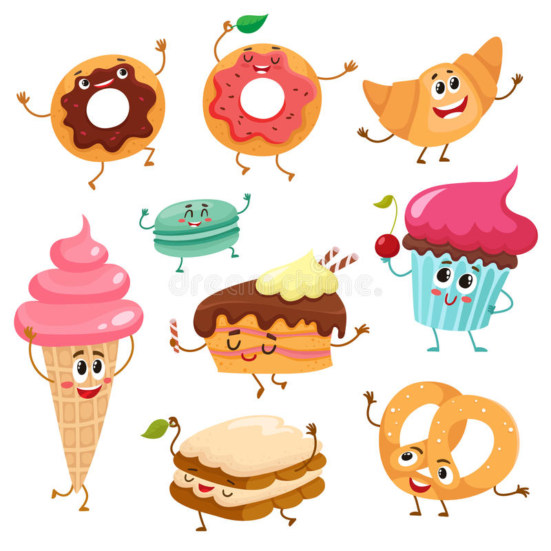 Insieme dei caratteri sorridente svegli e divertenti del dessert illustrazione vettoriale