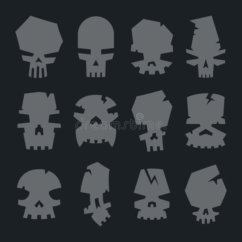 Insieme dei caratteri spaventosi del cranio dei mostri illustrazione di stock