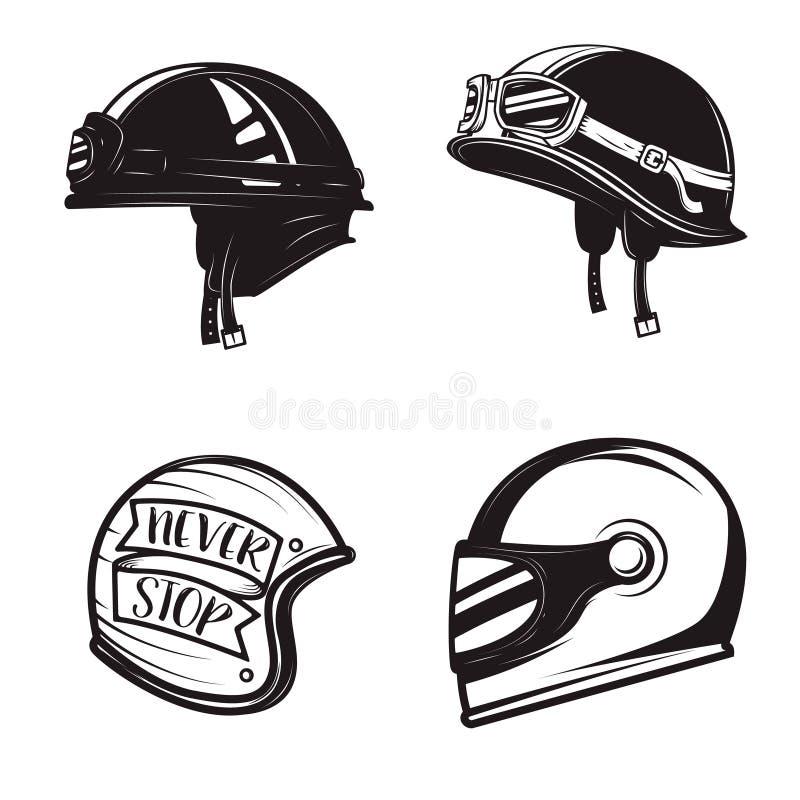 Insieme dei caschi differenti del motociclista isolati su fondo bianco des illustrazione di stock