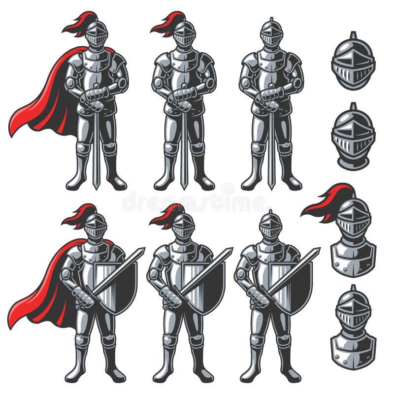 Insieme dei cavalieri di colore illustrazione di stock