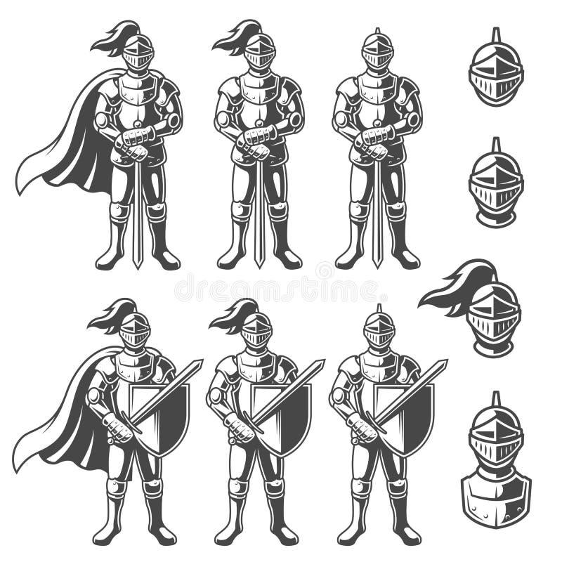 Insieme dei cavalieri monocromatici royalty illustrazione gratis