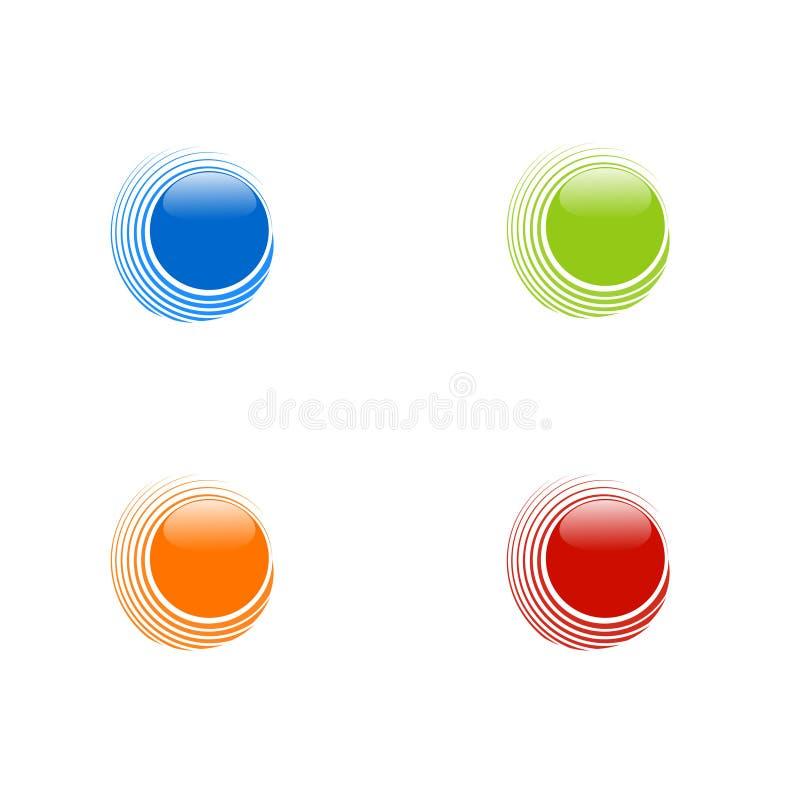 Insieme dei cerchi astratti su fondo bianco, blu, arancia, rosso a royalty illustrazione gratis