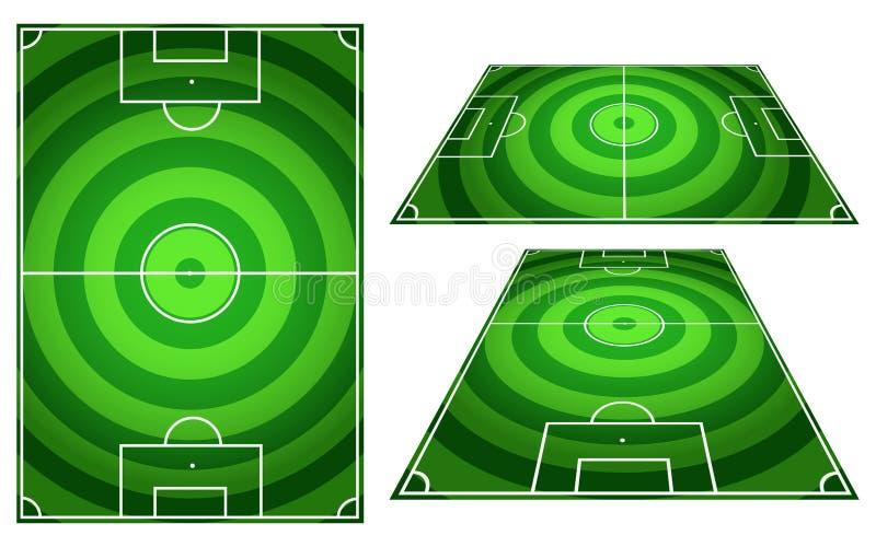 Insieme dei cerchi dei campi di calcio o di calcio barrati con il verticale a royalty illustrazione gratis
