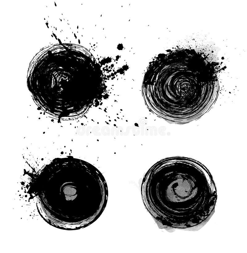 Insieme dei cerchi del nero di lerciume royalty illustrazione gratis