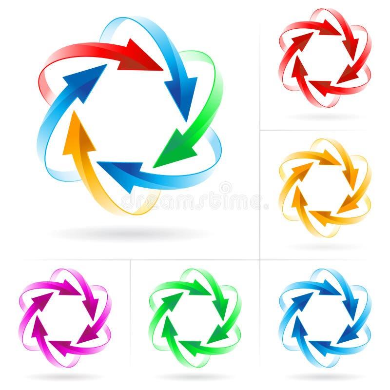Insieme dei cerchi della freccia illustrazione vettoriale