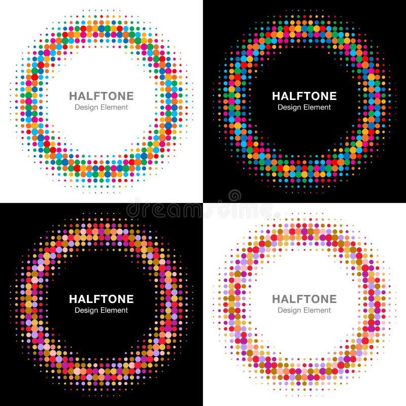 Insieme dei cerchi di semitono luminosi variopinti illustrazione di stock