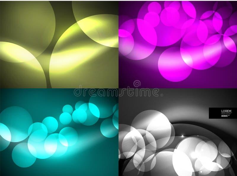 Insieme dei cerchi di vetro d'ardore brillanti, modello futuristico moderno del fondo illustrazione di stock
