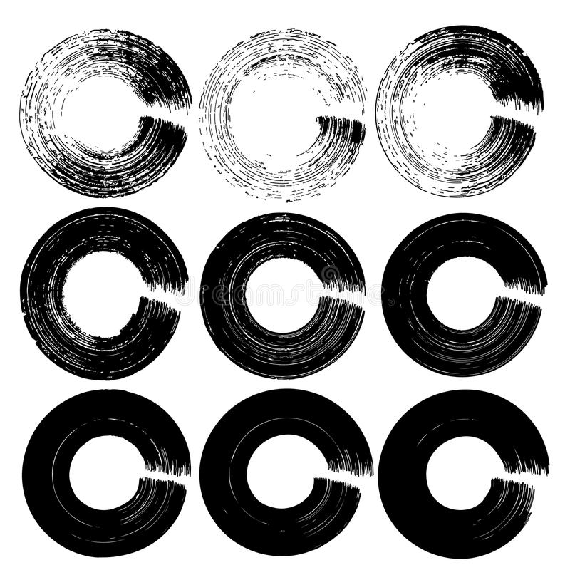 Insieme dei cerchi neri dell'inchiostro di lerciume royalty illustrazione gratis