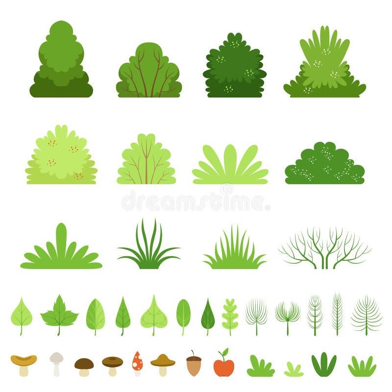 Insieme dei cespugli differenti, delle erbe, delle foglie degli alberi, dei funghi e dei frutti della foresta Illustrazione di ve illustrazione vettoriale