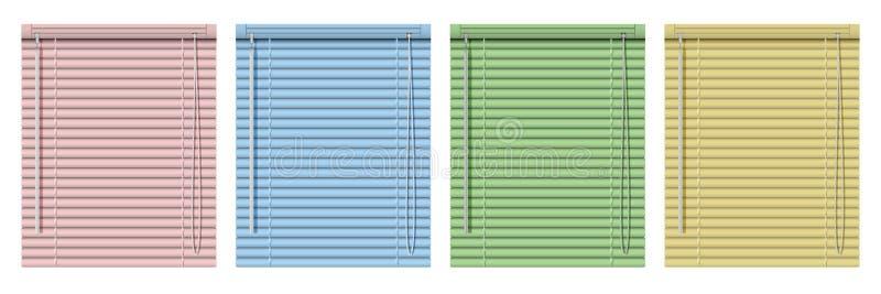 Insieme dei ciechi di finestra orizzontali colorati Tende realistiche dei ciechi dell'illustrazione fotografia stock