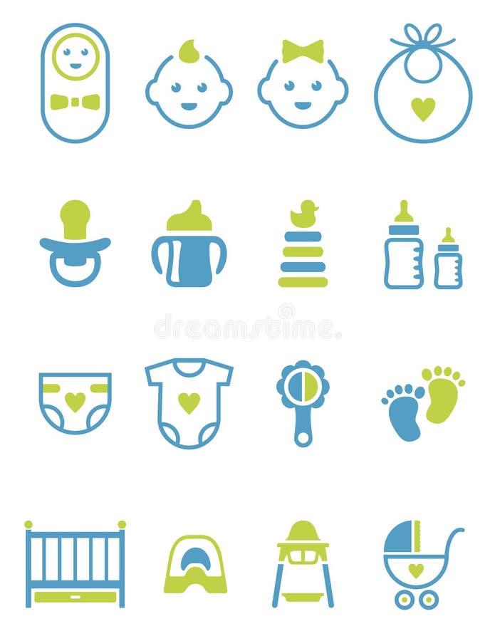 Insieme dei clipart/icone/logos del bambino su fondo bianco royalty illustrazione gratis