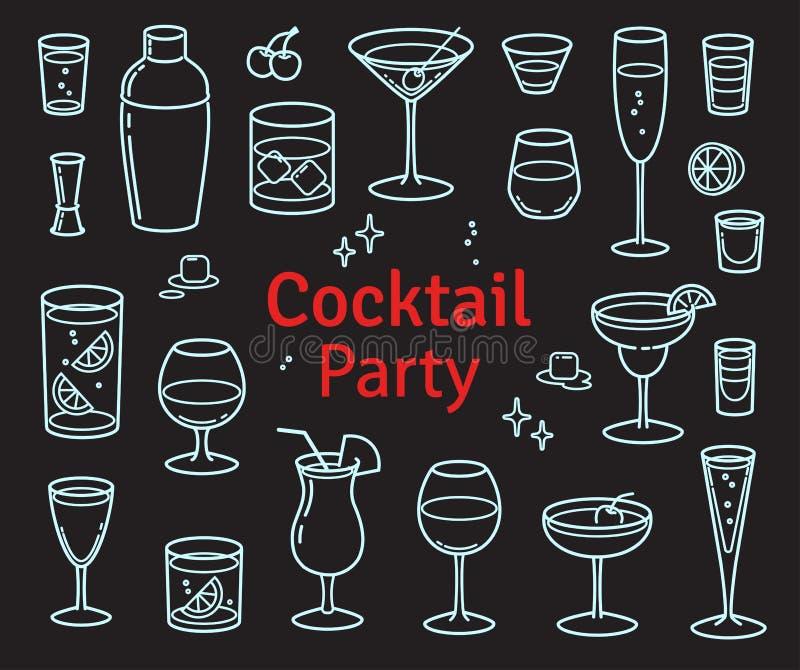 Insieme dei cocktail e del vettore delle bevande dell'alcool royalty illustrazione gratis
